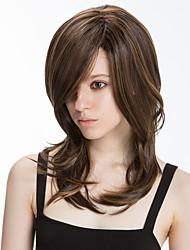 Χαμηλού Κόστους -Συνθετικές Περούκες Φυσικό ευθεία Στυλ Πλευρικό μέρος Χωρίς κάλυμμα Περούκα Καφέ Μπεζ Συνθετικά μαλλιά 16 inch Γυναικεία συνθετικός / Φυσική γραμμή των μαλλιών / Πλευρικό μέρος Καφέ Περούκα