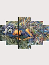 hesapli -Boyama Haddelenmiş Kanvas Tablolar - Soyut İnsanlar Klasik Modern Beş Panelli