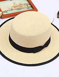 Недорогие -Муж. Универсальные Классический Панама Соломенная шляпа Шляпа от солнца Солома Кружева,Однотонный Все сезоны Бежевый Светло-коричневый Хаки
