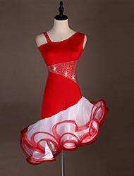 お買い得  -ラテンダンス ドレス 女性用 訓練 / 性能 スパンデックス / チュール クリスタル / ラインストーン ノースリーブ ハイウエスト ドレス