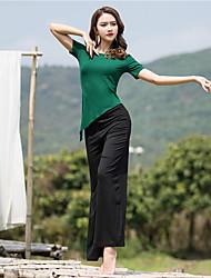 お買い得  -スポーツダンスウェア セット / ヨガ 女性用 性能 モーダル フリル 半袖 ナチュラルウエスト 上着 / パンツ