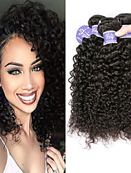 cheap -3 Bundles Peruvian Hair Kinky Curly Unprocessed Human Hair 100% Remy Hair Weave Bundles Headpiece Natural Color Hair Weaves / Hair Bulk Bundle Hair 8-28 inch Natural Human Hair Weaves Extender