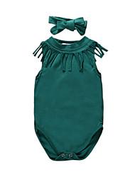 זול -חליפת גוף כותנה ללא שרוולים אחיד בסיסי בנות תִינוֹק / פעוטות