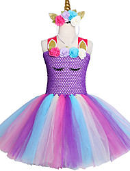 Недорогие -2-12 лет фантазии девочка балетная пачка пони единорог оголовье хеллоуин костюм