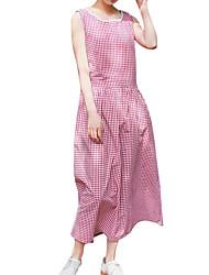 baratos -Mulheres Reto Vestido - Estampado, Quadriculada Médio