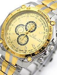 Недорогие -Муж. Нарядные часы Кварцевый Нержавеющая сталь Серебристый металл Ударопрочный Аналоговый Роскошь Мода - Золотой / Белый Один год Срок службы батареи
