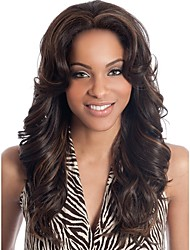 cheap -Synthetic Wig / Bangs Curly / Deep Wave Style Middle Part Capless Wig Dark Brown Dark Brown / Dark Auburn Synthetic Hair 28 inch Women's Fashionable Design / Women / Synthetic Dark Brown Wig Long
