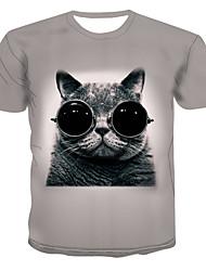 billiga -Tryck, Färgblock / 3D / Djur T-shirt Herr Ljusgrå XXXXL