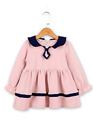 levne -Děti / Toddler Dívčí Aktivní / Cute Style Jednobarevné Tisk Dlouhý rukáv Délka ke kolenům Bavlna / Polyester Šaty Světlá růžová