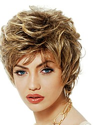 cheap -Synthetic Wig / Bangs Curly Style Free Part Capless Wig Golden Black / Gold Synthetic Hair 12 inch Women's Women / Synthetic / Sexy Lady Golden Wig Short Natural Wigs