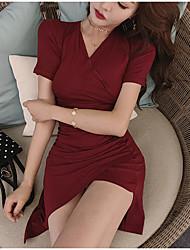 お買い得  -女性用 ベーシック ボディコン ドレス - パッチワーク, ソリッド 膝上