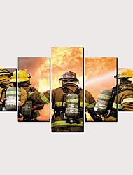 Недорогие -С картинкой Роликовые холсты - Люди Армия Классика Modern 5 панелей