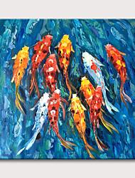 Недорогие -Картина маслом ручная роспись животных Кои пруд аннотация холст