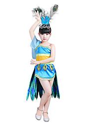 preiswerte -Superheld Kleid Cosplay Kostüme Kinder Mädchen Cosplay Halloween Halloween Karneval Maskerade Fest / Feiertage Feder Polyester Blau Karneval Kostüme Einfarbig Print