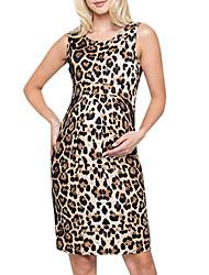abordables -Mujer Básico Recto Vestido - Retazos Estampado, Leopardo Sobre la rodilla