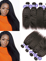 cheap -4 Bundles Indian Hair Yaki Straight Unprocessed Human Hair 100% Remy Hair Weave Bundles Headpiece Natural Color Hair Weaves / Hair Bulk Bundle Hair 8-28 inch Natural Color Human Hair Weaves Odor Free