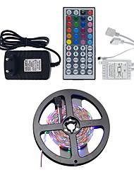 Недорогие -Наборы подсветки 5 м / RGB полосы света 300 светодиодов 3528 smd 8 мм 1 Пульт дистанционного управления 44keys / 1 x 2a адаптер питания RGB + белый водонепроницаемый / вечеринка / декоративные 12 В 1