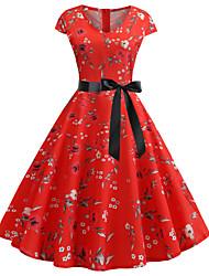 رخيصةأون -فستان نسائي A line عتيق أساسي بقع طول الركبة ورد