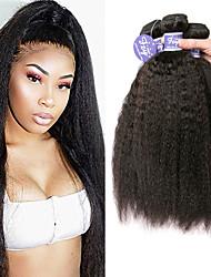 billige -3 Bundler malaysisk hår Yaki Straight Ubehandlet Menneskehår 100% Remy Hair Weave Bundles Hovedstykke Menneskehår, Bølget Bundle Hair 8-28 inch Naturlig Farve Menneskehår Vævninger Lugtfri Blød