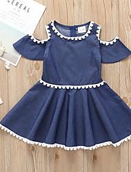 זול -שמלה שרוולים קצרים אחיד בנות ילדים