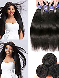 cheap -4 Bundles Indian Hair Straight Unprocessed Human Hair 100% Remy Hair Weave Bundles Natural Color Hair Weaves / Hair Bulk Bundle Hair Human Hair Extensions 8-28 inch Natural Human Hair Weaves Odor