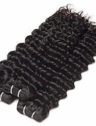 Недорогие -3 Связки Бразильские волосы Крупные кудри человеческие волосы Remy Головные уборы Человека ткет Волосы Удлинитель 8-28 дюймовый Естественный цвет Ткет человеческих волос Мягкость Мода Толстые