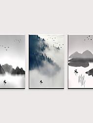 tanie -Nadruk Zwijane wydruki na płótnie - Wypoczynek Pejzaż abstrakcyjny Klasyczny Trzy panele
