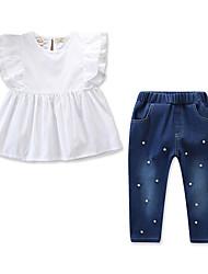 levne -Děti / Toddler Dívčí Aktivní / Základní Jednobarevné Bez rukávů Standardní Bavlna / Spandex Sady oblečení Bílá