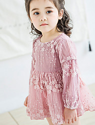 hesapli -Bebek Genç Kız Temel Solid Uzun Kollu Polyester Elbise Beyaz