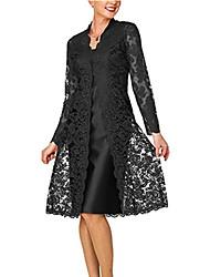 Недорогие -Жен. Для мамы Кружева Из двух частей Платье - Однотонный, Кружева V-образный вырез До колена