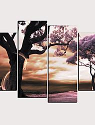 Недорогие -С картинкой Роликовые холсты - Абстракция ботанический Классика Modern 4 панели