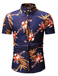 billige -Herre - Blomstret Skjorte Rød XL