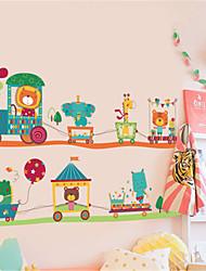 povoljno -slatka dječja soba spavaća soba zid samoljepljiva karikatura životinja vlak zid naljepnica vrtić pozadina dekorativne zidne naljepnice