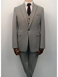 お買い得  -シルバーグレー ソリッド スタンダードフィット コットン / ポリエステル スーツ - ピークドラペル シングルブレスト 一つボタン