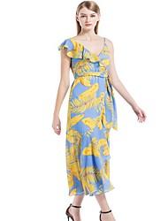 Недорогие -женское макси свинг платье глубокое v светло-синее s m l xl