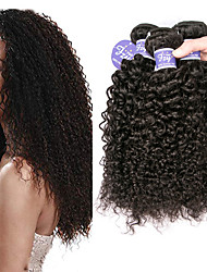 cheap -3 Bundles Brazilian Hair Bouncy Curl Kinky Curly 100% Remy Hair Weave Bundles Headpiece Natural Color Hair Weaves / Hair Bulk Bundle Hair 8-28 inch Natural Color Human Hair Weaves Extender Extention