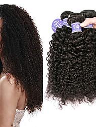 billige -3 Bundler Brasiliansk hår Bouncy Curl Kinky Curly 100% Remy Hair Weave Bundles Hovedstykke Menneskehår, Bølget Bundle Hair 8-28 inch Naturlig Farve Menneskehår Vævninger Ekstention Sej curling