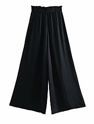 povoljno -Žene Osnovni Wide Leg Hlače - Jednobojni Obala Crn S M L