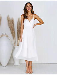 preiswerte -A-Linie Spaghetti-Träger Tee-Länge Chiffon Kleid mit durch LAN TING Express