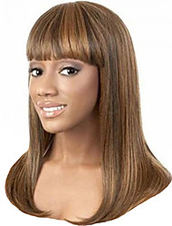 cheap -Synthetic Wig / Bangs kinky Straight Style Free Part Capless Wig Brown Brown / Burgundy Synthetic Hair 20 inch Women's Waterfall / Fashionable Design / Smooth Brown Wig Long Natural Wigs
