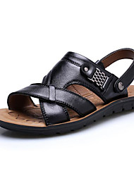 Χαμηλού Κόστους -Ανδρικά Παπούτσια άνεσης Νάπα Leather Καλοκαίρι Σανδάλια Μαύρο / Ανοικτό Καφέ / Σκούρο καφέ