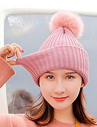 voordelige -Dames Actief Standaard leuke Style Katoen Polyester,Effen Floppy hoed-Herfst Winter Beige Marineblauw Lichtgrijs