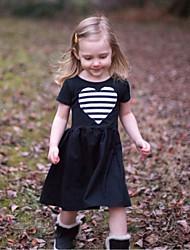 hesapli -Çocuklar / Toddler Genç Kız Actif / Temel Solid / Çizgili / Kalp Kısa Kollu Diz-boyu Pamuklu / Polyester Elbise Siyah