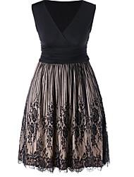 رخيصةأون -فستان نسائي A line أساسي بقع فوق الركبة لون سادة