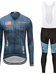 お買い得  -MUBODO 男性用 長袖 ビブタイツ付きサイクリングジャージー ブーレ / ブラック バイク スーツウェア 高通気性 速乾性 反射性ストリップ スポーツ メッシュ マウンテンサイクリング ロードバイク 衣類 / 伸縮性あり