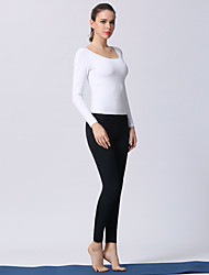 voordelige -Dames Open rug Yoga pak Wit Zwart Sport Effen Kleur Sportoutfits Yoga Gym training Lange mouw Sportkleding Lichtgewicht Ademend Sneldrogend Zweetafvoerend Rekbaar