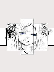 Недорогие -С картинкой Роликовые холсты - Абстракция Гламурная девушка Классика Modern 5 панелей