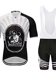 お買い得  -MUBODO 男性用 半袖 ビブショーツ付きサイクリングジャージー ブラック / ホワイト バイク スーツウェア 高通気性 速乾性 反射性ストリップ スポーツ メッシュ マウンテンサイクリング ロードバイク 衣類 / 伸縮性あり