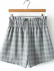 povoljno -Žene Osnovni Veći konfekcijski brojevi Slim Kratke hlače Hlače - Karirani uzorak Crn Tamno siva Svijetlosiva XXL XXXL XXXXL