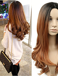 cheap -Synthetic Wig Wavy Style Middle Part Capless Wig Brown Light Brown Synthetic Hair 22 inch Women's Women Brown Wig Long Natural Wigs